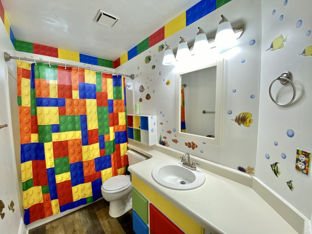 DIY Colorful Kids Bathroom Remodel
